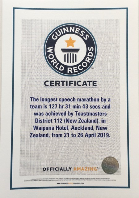 Guinness World record certificate - the full size one hangs in the reception at Waipuna