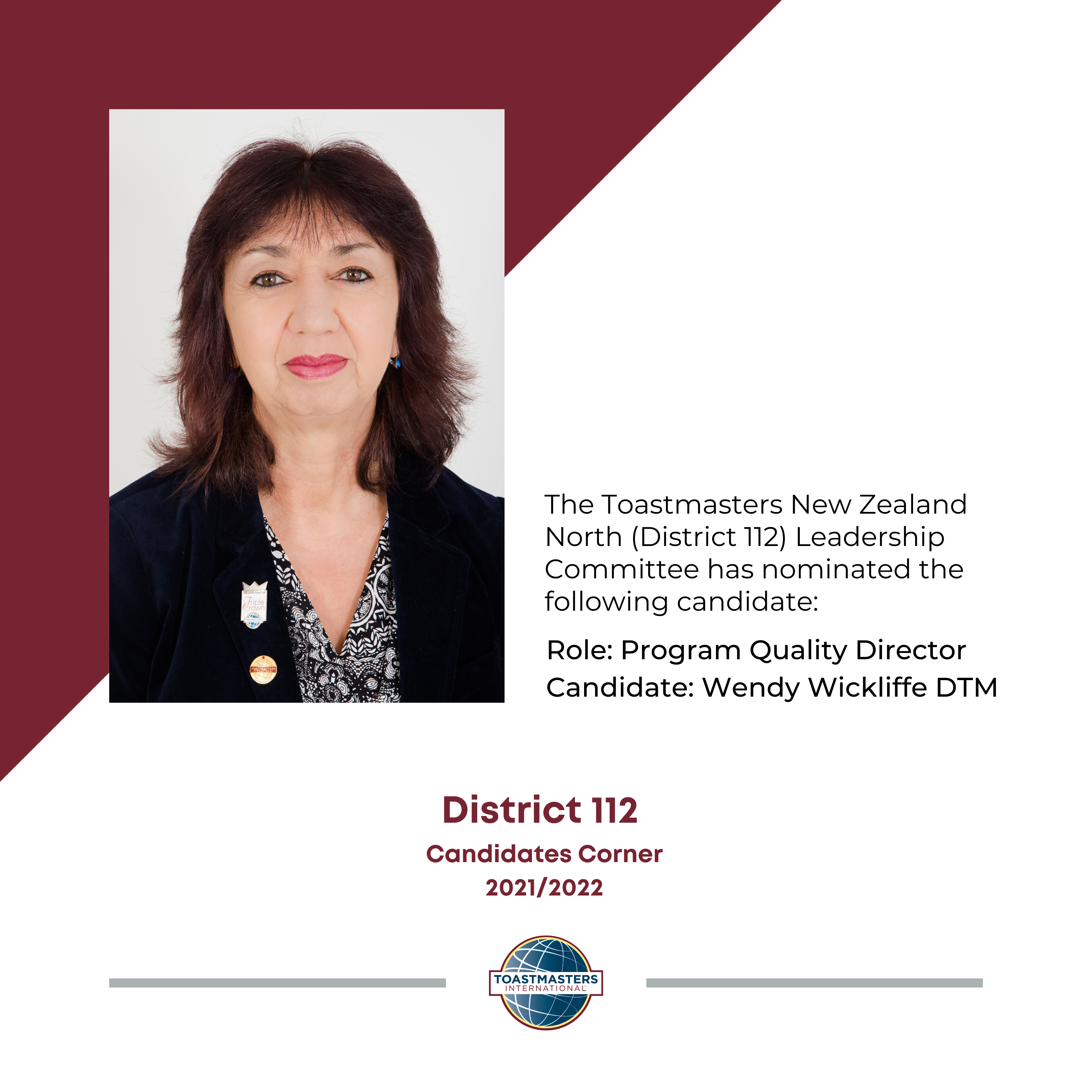 Role: Program Quality Director Candidate: Wendy Wickliffe DTM