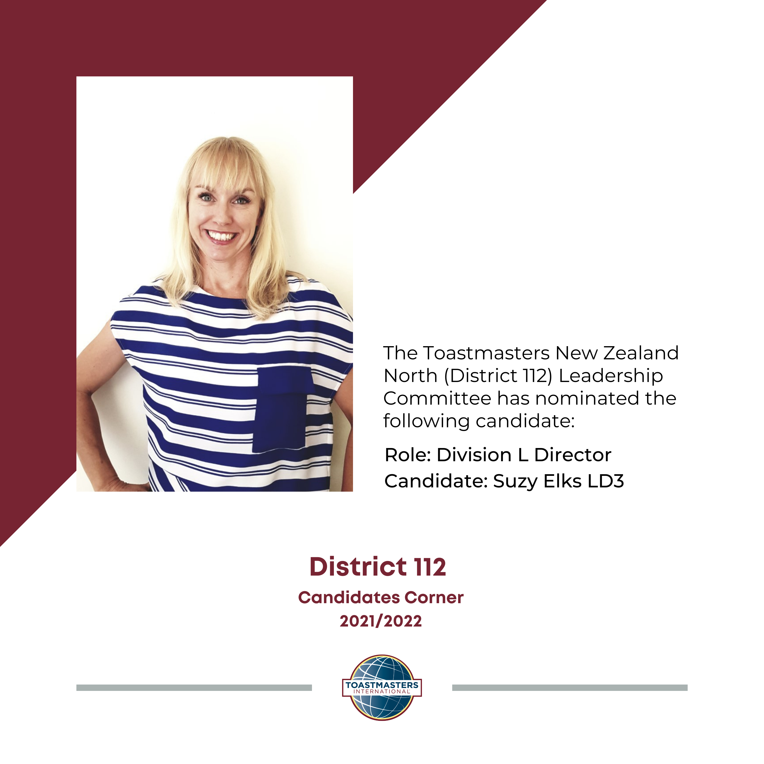 Role: Division L Director Candidate: Suzy Elks LD3