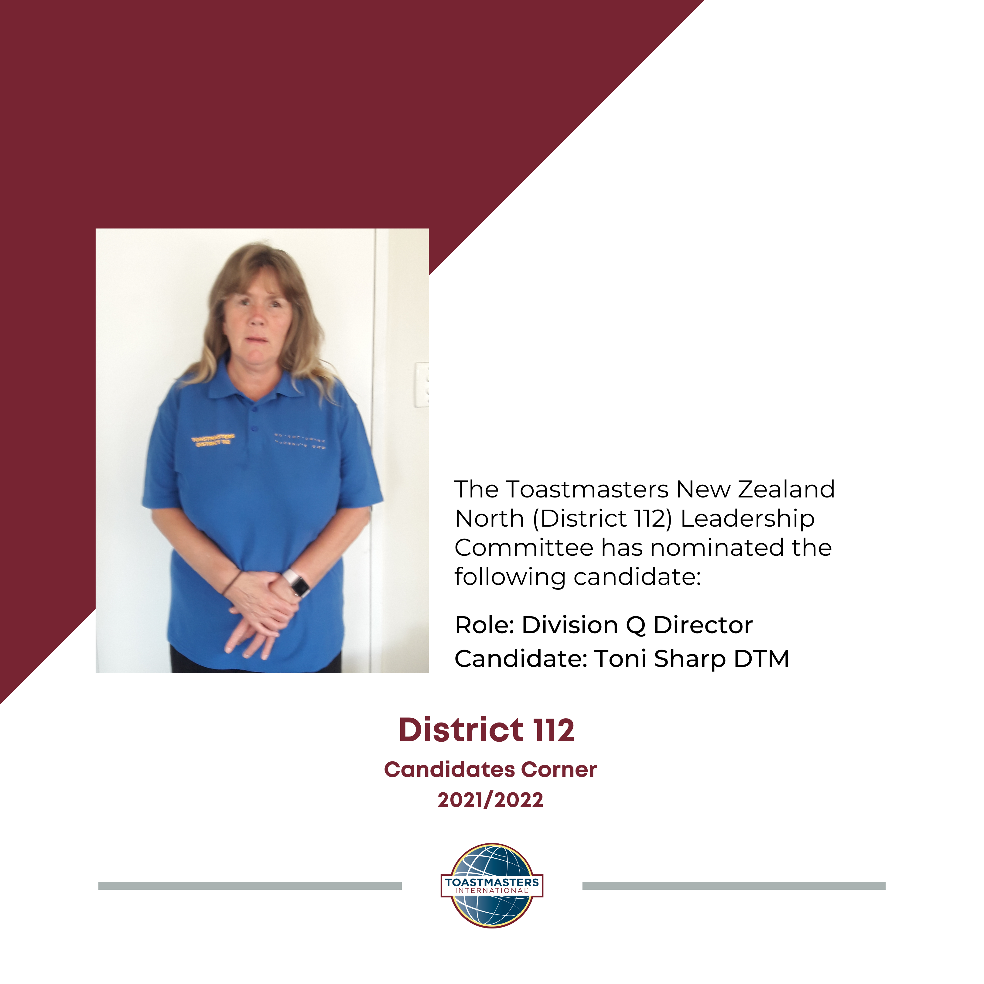 Role: Division Q Director Candidate: Toni Sharp DTM