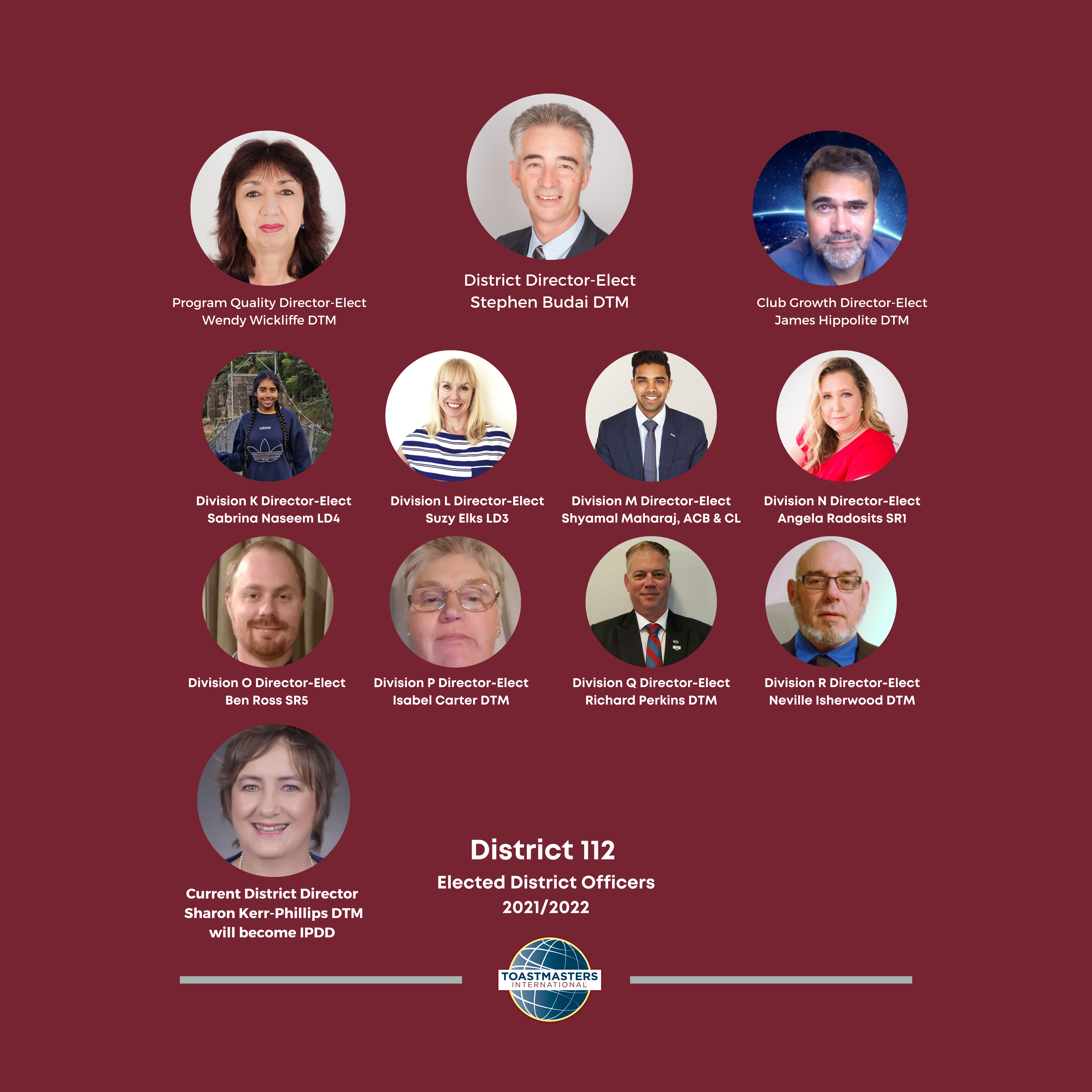 Toastmasters New Zealand North District 112 team for 2021 - 2022
