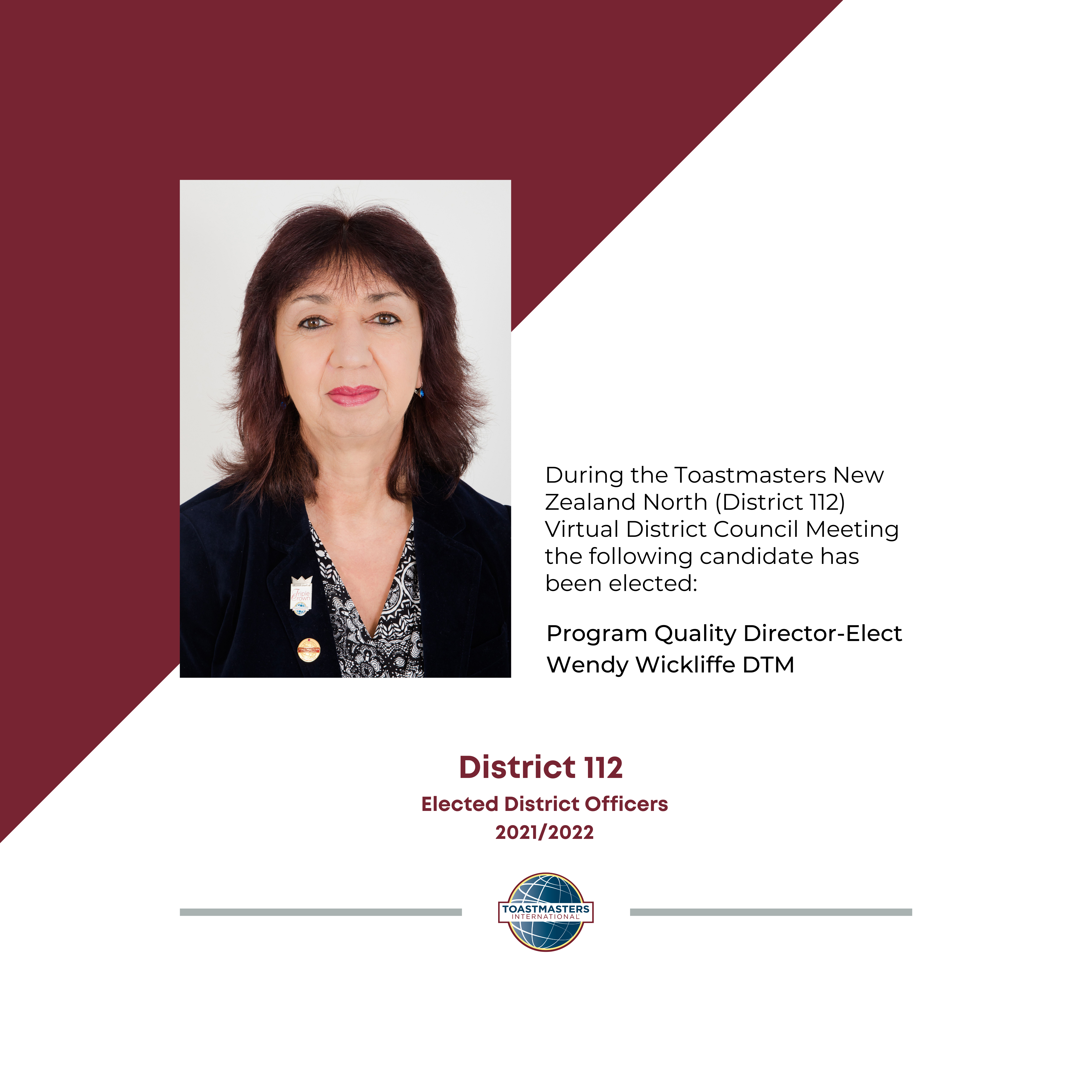 Program Quality Director Elect Wendy Wickliffe DTM